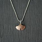 14k gf hammered gingko leaf pendant on 18 inch sterling chain.  14k gf chain is available upon request.
