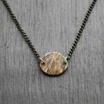 Brass Bark Oval Necklace. Textured thick-gauge brass treated with a heat patina. $45.00