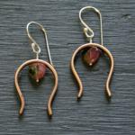 watermelon tourmaline horseshoe earrings