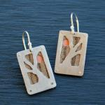 Pink Moon Earrings. Sterling silver and zebra wood backed with copper.