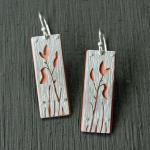 Spring Flora Earrings, sterling and copper