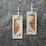 Mirrored Trees.  Hand-cut and textured. Sterling silver and copper.