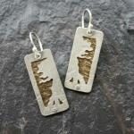 Mirrored Trees.  Hand-cut and textured. Sterling silver and 14k gold-filled.